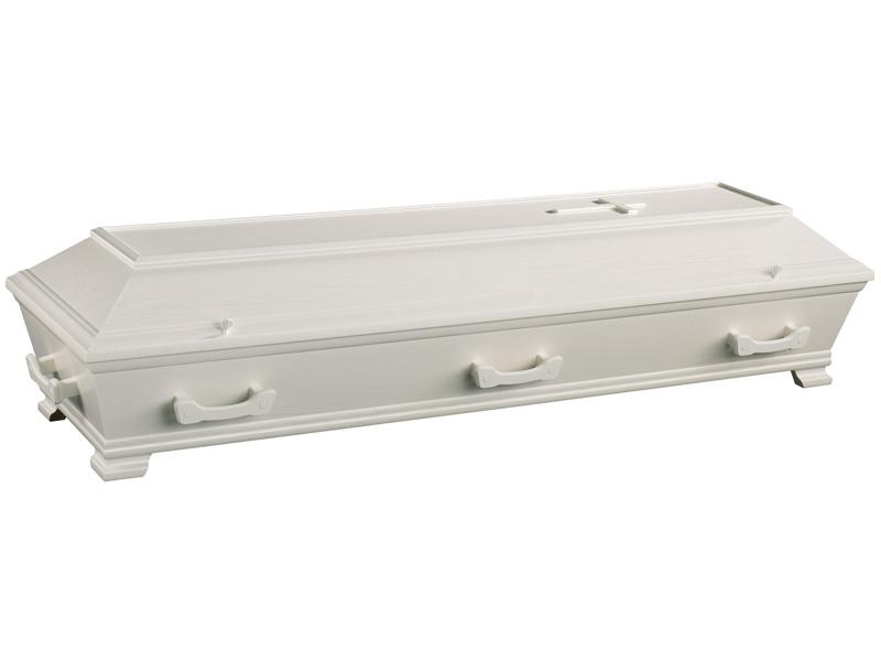 Nordica 65: Hvit, med enkle profiler, uten ornamenter. Lakkert med trestruktur.